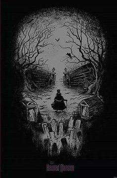 Disney Parks Retired Haunted Mansion Hatbox Ghost Skull Poster NEW 24 Haunted Mansion Disney, Haunted Mansion Tattoo, Haunted Houses, Illusion Kunst, Illusion Art, Skull Tattoo Design, Skull Tattoos, Art Tattoos, Arte Horror