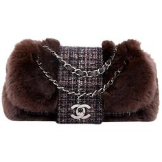 Preowned Chanel Fantasy Flap Bag Fur And Tweed Small (£925) ❤ liked on Polyvore featuring bags, handbags, shoulder bags, black, structured shoulder bags, shoulder strap bags, shoulder bag purse, flap bag, chain shoulder bag and hologram purse