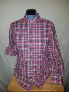 346 Brooks Brothers Sz 14 Multi-Color Plaid L/S or 3/4 Button Down Womens Blous #BrooksBrothers #ButtonDownShirt
