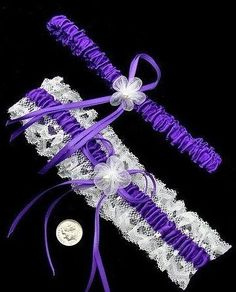 satin garter wedding set cept in red! but i like the purple...