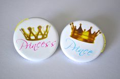 Check out this item in my Etsy shop https://www.etsy.com/listing/207387737/gender-reveal-buttons-prince-baby-shower