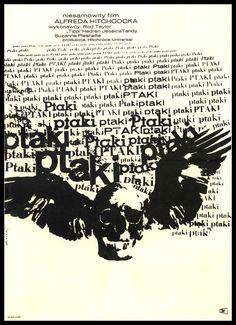 Los pájaros, Hitchcock, 1963, afiche polaco