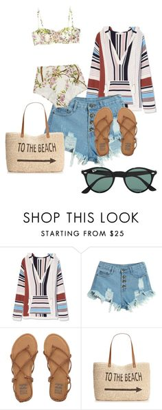 """""""#beach"""" by pauline-da-silva ❤ liked on Polyvore featuring Tory Burch, WithChic, Été Swim, Billabong, Style & Co., Ray-Ban, women's clothing, women, female and woman"""