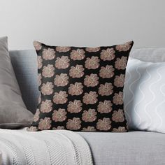 'Contour Flower Design' Throw Pillow by iouryRB