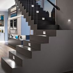 Interesting 8 Indoor Staircase Lighting Design Ideas For Your Home – ROOMY Stairway Lighting, Home Lighting, Lighting Design, Lighting Ideas, Interior Lighting, Mini Pendant Lights, Pendant Lighting, Stairs Outside The House, Build Your House