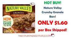 What a great price! Get Nature Valley Crunchy Granola Bars for only $1.60 per box shipped! Awesome for a breakfast on the run or a snack!  Click the link below to get all of the details ► http://www.thecouponingcouple.com/nature-valley-crunchy-granola-bars/ #Coupons #Couponing #CouponCommunity  Visit us at http://www.thecouponingcouple.com for more great posts!