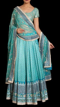 Light Blue ornate ghagra monochrome, sequins
