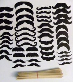 Mustache Party -DYI style...fold black stiff felt sheet in half, cut mustaches free-form, and glue to dowel rods!