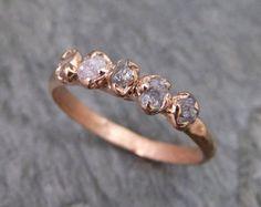 Crudo rosa diamantes rosa oro anillo venda de boda de encargo uno de una clase preciosa anillo de diamante bruto byAngeline