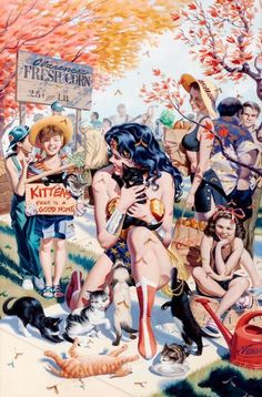 Steve Rude's Norman Rockwell styled Wonder Woman painting. It was published in Wonder Woman # as a PinUp in the back of the comic. I can't help but notice his style also captures the nostalgic connotation. Wonder Woman Kunst, Wonder Woman Art, Wonder Woman Cosplay, Super Heroine, Arte Dc Comics, Comic Kunst, Female Hero, Detective Comics, Comics Girls