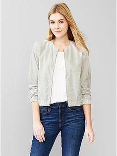 Heathered bomber jacket - use grey poplin and McCall 7100
