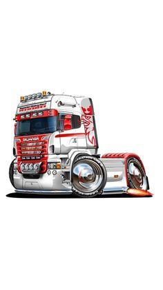 Cool Car Drawings, Truck Tattoo, Kenworth Trucks, Car Illustration, Big Wheel, Cool Animations, Car Humor, Cartoon Art, Art Cars
