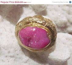 New Year Sale SALE Hot pink druzy and gold by YaronaJewelryDesign, $51.33