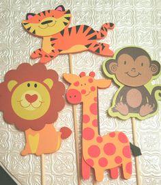 Cute Jungle safari monkey lion tiger giraffe topper for centerpiece, cake, cupcake birthday party favor baby shower decor