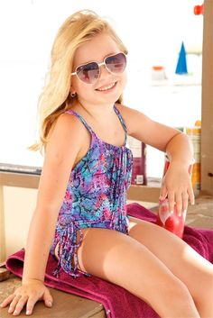 Peixoto Kids Hannah One Piece - Fringe Accented. This Peixoto Kids Hannah One Piece is made out of the best quality materials with care. The high end snake print of this Designer Kids Fringe Accented One Piece is eye catching. Its bold colors and elaborate print call the attention of all young fashionistas. #kids