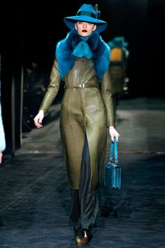 Weathered camo green with deep saturated blue. Gorgeous color combo. Gucci. Fashion Week 2011.
