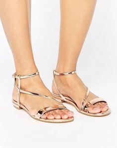 Dune Metallic Assymetric Flat Sandals