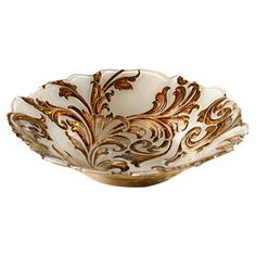 Mouth-blown glass bowl in beige with a damask motif and scalloped edge.   Product: Serving bowlConstruction Materia...