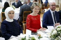 King Philippe of Belgium and Queen Mathilde of Belgium held a official lunch at the Royal Castle in honor of Turkey's President Recep Tayyip Erdogan and his wife Emine Erdogan in Laken-Laeken, Brussels, on October 6, 2015