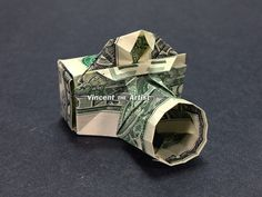 CAMERA Money Origami - Cash Money Dollar Bill Currency Bank Note Dinero