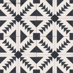 "Cement Tile Shop Collection's Tulum tile (8"" x 8"") in Pacific Black, Pacific White.  ($82.80 per box, 12 pieces per box.)"