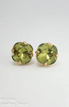 Swarovski Khaki | Khaki fashion | Olive green earrings | khaki earrings | swarovski 10mm square stud earrings with nickel free plating and surgical steel post - great for sensitive ears | www.endorajewellery.etsy.com
