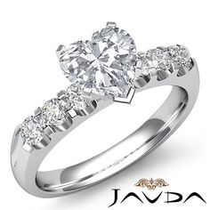 Shiny Heart Diamond Prong Set 6 Stone Engagement Ring GIA H SI1 Platinum 1.31 ct #Javda #SolitairewithAccents