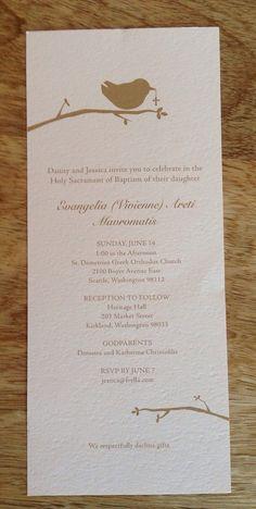 Printable Baptismal/Christening Invitation: Bird by FrellaDesigns