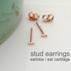 Tiny Bar Stud Earrings for Men - Rose Gold Plated over Silver - Cartilage Helix Tragus -  XXS 3mm (no. 464 R) on Etsy, $17.00