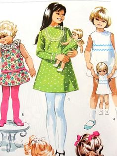 1960s Little Girls Dress and Matching Doll Dresses Pattern Simplicity 8568 Vintage Sewing Pattern Several Adorable Toddler Girls Dress Styles Size 4 UNCUT FACTORY FOLDED