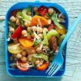 Chick Pea, Tomato & Cheese Salad - Coles Recipes & Cooking | use a milk-mayo-vinegar or oil-lemon juice dressing: ¼ cup olive oil Juice of 1 lemon 1tsp mustard drizzle of honey to taste Salt and pepper to taste