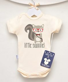 795f8a63 Squirrel Baby Clothes. Hipster short sleeve Baby Bodysuit With 'Little  Squirrel' Graphic. Animal Baby Romper. Many Colors available.