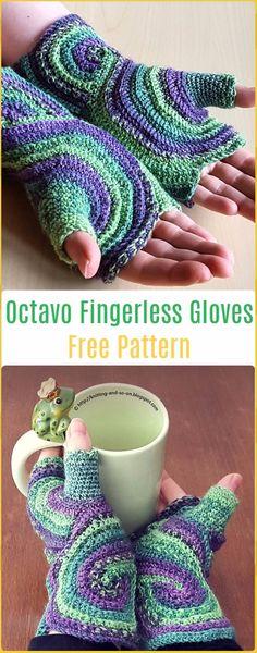 Crochet Octavo Fingerless Gloves Free Pattern - Crochet Arm Warmer Free Patterns