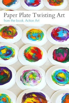 Paper Plate Twisting Process Art Project from the book, Action Art by MaryAnn Kohl and Barbara Zaborowski Process Art Preschool, Preschool Art Projects, Preschool Art Activities, Projects For Kids, Crafts For Kids, Arts And Crafts, Preschool Education, Messy Art, Toddler Art