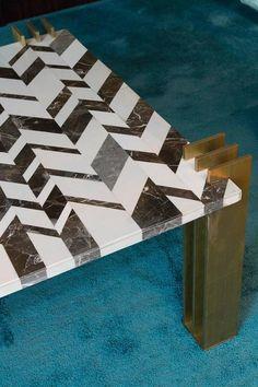 1970s Marble Intarsio and Brass Coffee Table 5 Mobili Moderni 8737412b6feb