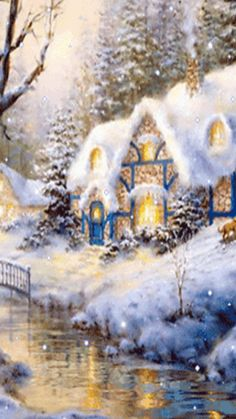 Moving Snowing Christmas Cottage Scene - Snowing Christmas Scene Gif - Merry Christmas & Happy New Year !!!