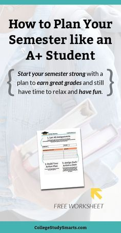 Semester Plan for Productivity & Better Grades - College Study Smarts : How to plan your semester like an A+ student. Start your semester strong with a plan to earn great grades and still have time to relax and have fun. College Life Hacks, College Success, College Fun, Education College, College Tips, Study College, College Packing, College Essentials, College Semester