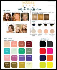 Color Analysis: 3 Degrees of Warm & Rich .im either soft autumn or soft summer? Soft Autumn Color Palette, Soft Summer Palette, Soft Autumn Makeup, Autumn Colours, Soft Summer Makeup, Summer Color Palettes, Rich Colors, Cool Skin Tone, Cool Tones