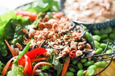 Holistic: EDAMAME MANGO SALAD WITH SPICY ALMOND DRESSING RECIPE King Soba Noodles, Spicy Almonds, Mango Salad, Edamame, Dressing Recipe, Kung Pao Chicken, Ethnic Recipes, Food, Essen