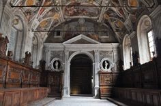 Santi Severino e Sossio, Naples.  Sacristy conserves a complete cycle of frescoes by Onofrio de Lione, depicting scenes from the Old Testement.