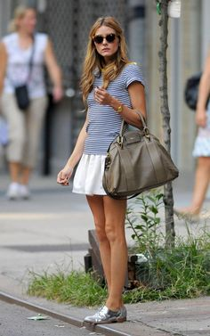 Blue and white stripes with white skirt Olivia Palermo...