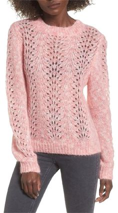 Mohair adds wispy, cotton candy-like texture to this intricate open-knit triblend sweater. Long sleeves with ribbed cuffs. Lace Sweater, Mohair Sweater, Pullover Sweaters, Pink Sweater, Sweater Knitting Patterns, Knit Patterns, Baby Knitting, Crochet Cap, Casual Winter Outfits