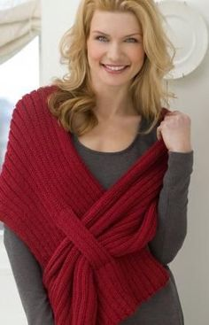 Self-Fastening Scarves and Shawls Knitting Patterns Free knitting pattern for Ribbed Slit Shawl - Kimberly K. McAlindin designed this easy shawl for Red Heart that's perfec. Knitted Shawls, Crochet Scarves, Crochet Shawl, Crochet Clothes, Knit Crochet, Knitting Scarves, Knit Poncho, Knitted Bags, Wool Cardigan