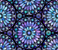 Painted Rose Windows (Blue and Purple) fabric by logan_spector on Spoonflower - custom fabric