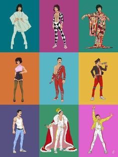 My artwork of the legendary Freddie Mercury wearing some of his vibrant and iconic costumes. My artwork of the legendary Freddie Mercury wearing some of his vibrant and iconic costumes. Rami Malek, Freddie Mercuri, Queen Drawing, Princes Of The Universe, El Rock And Roll, Queen Meme, Queens Wallpaper, Roger Taylor, Queen Photos