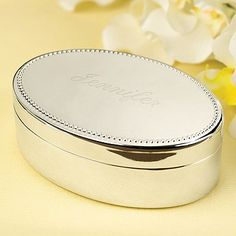 Oval Jewelry Box Silver-plated, oval jewelry box with raised dot border. ideal personalized gifts for wedding party bridesmaids, maid of honor