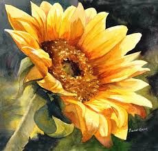 Looking to the Sun Painting by Bonnie Rinier - Looking to the Sun Fine Art Prints and Posters for Sale Sunflower Drawing, Sunflower Art, Watercolor Sunflower, Watercolor Flowers, Watercolor Paintings, Sunflower Paintings, Paintings Of Sunflowers, Acrylic Paintings, Watercolors