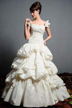 Ball Gown Off-the-shoulder Scoop Neck Dropped Waist Taffeta Lace Up Ivory Wedding Dress Sweet Wedding Dresses, Sweetheart Wedding Dress, Luxury Wedding Dress, Wedding Dress Trends, Cheap Wedding Dress, Wedding Dress Styles, Bridal Dresses, Wedding Gowns, Flower Girl Dresses