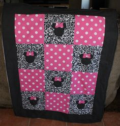 Minnie mouse inspired quilt by MyMoochies on Etsy, $50.00