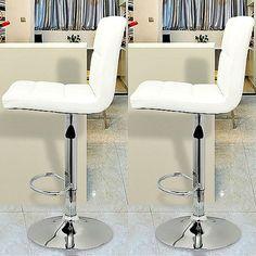White PU Leather Breakfast Bar Stools 2Pc Swivel Kitchen Padded Chair Gas Lift